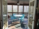 French Doors from LR out to Screened Porch, overlooking the trout pond.