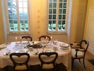 The dining room comfortably seats 8 but has accommodated 10