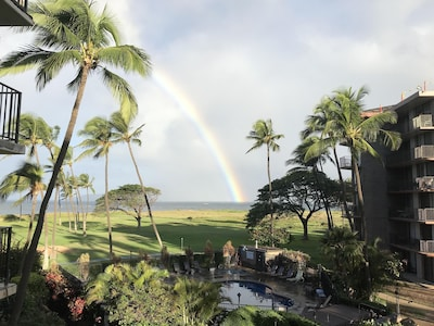 Morning rainbow over Maalaea Bay from our balcony