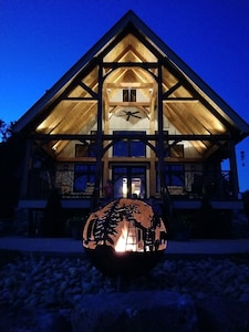 Amazing guest house with custom made ( in our metal shop) fire pit on our farm
