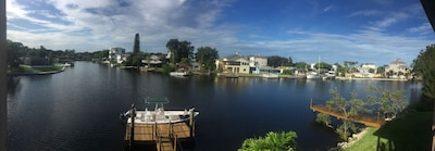 Panoramic view from balcony. Boat dock and fishing pier. (Boat not included)