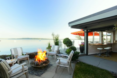 Incredibly unique property located on Puget Sound with fire pit, deck and cabana