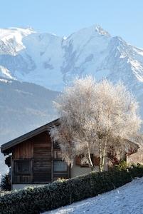 Première neige face au Mont Blanc