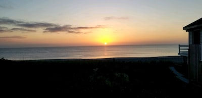 Morning Sunrise view from Oceanside Deck and Living Room Couch at 5:30 am 8/3/18