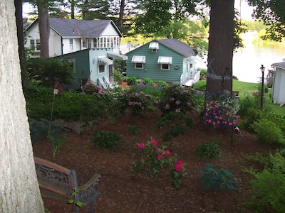 The cottage and garden as seen from the road.