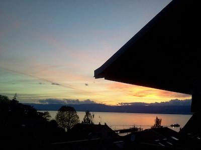 21h30 coucher de soleil, vue sur l'embarcadère