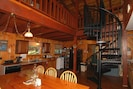 Kitchen view of spiral staircase to Loft