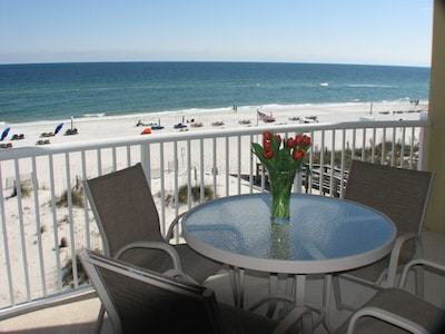 view of the beach from balcony