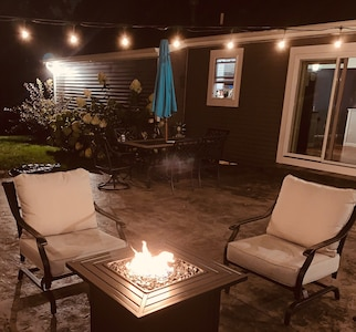 Fire table on back patio.