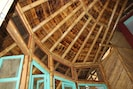 handmade bamboo ceiling in Cabin living area.