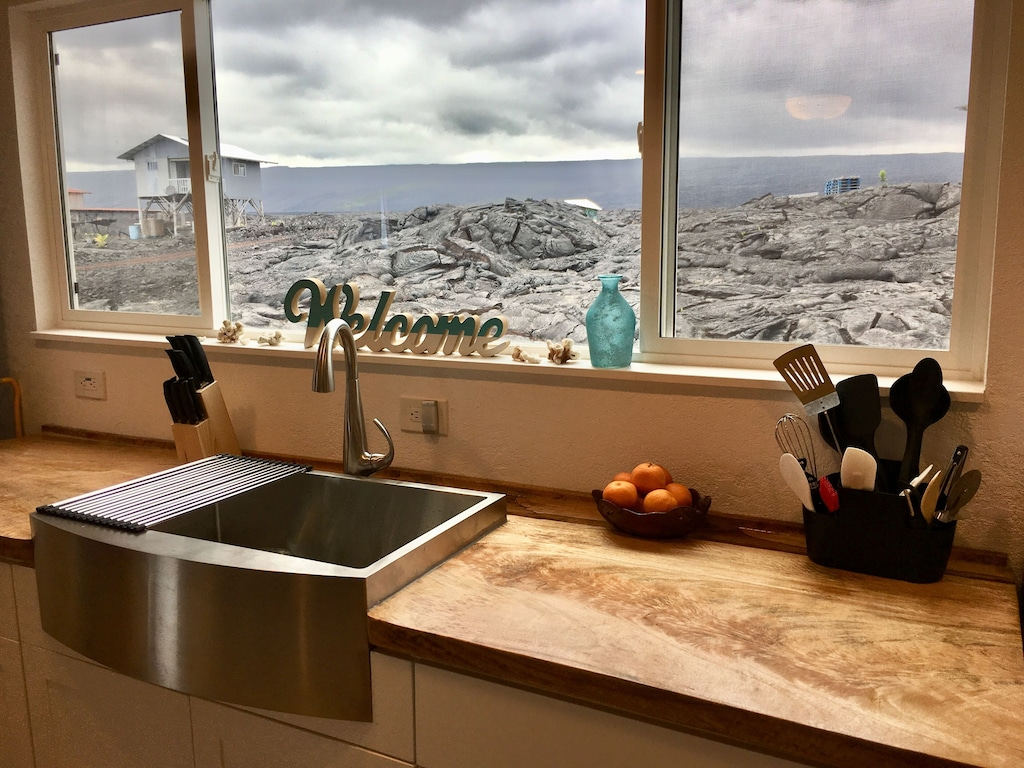 Kitchen looking out over the black lava of Hawaii Big Island