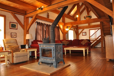 Wood Stove & Upper Living Room Area