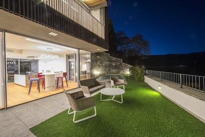 Villa private garden open outside area night shot