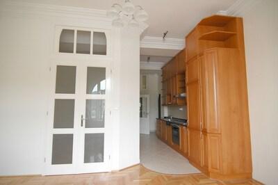 Kitchen and door into bedroom