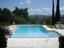 Travertine private swimming pool with panoramic vi