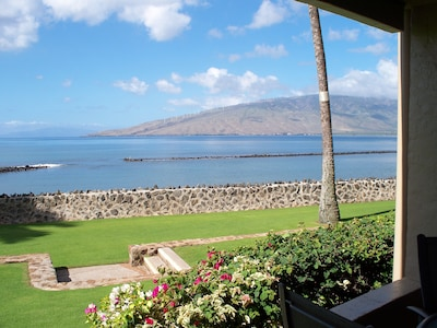 View from your lanai of fishpond (good swimming) and West Maui and Lanai Isle