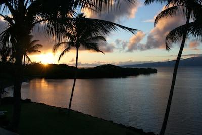 Sunrise over Maui from the lanai