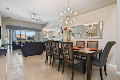 Beautiful redesigned dining room seats 8. Perfect for family meals!