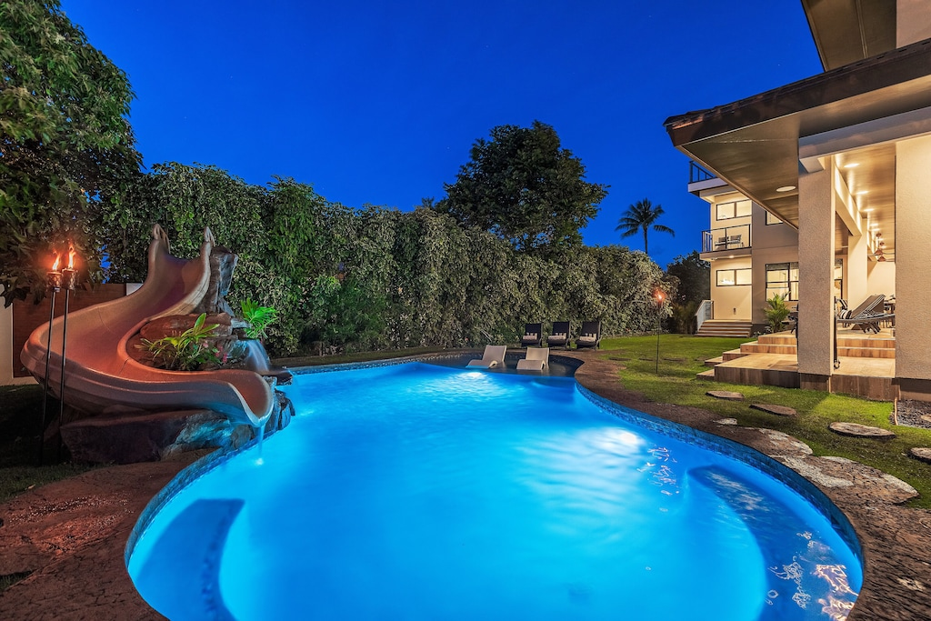 Maui villa with pool and pool slide