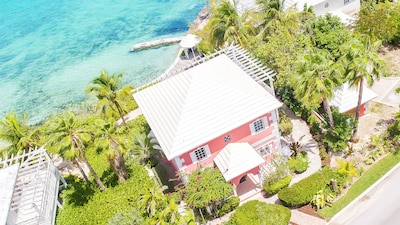 Aerial view of Sea Star showing proximity to water and landscaping for privacy