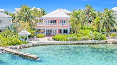 View of Sea Star villa, deck, gazebo from water from Elizabeth Harbor
