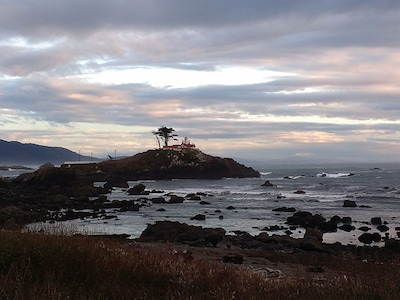 Amazing sunset and view of Battery Point Light House less than a block away