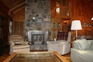 get cozy by the fireplace on cool nights