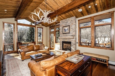 Enjoy views of both the Roaring Fork River and Snowmass Mtn from the great room