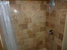 New Travertine Tile Shower in Downstairs Bath