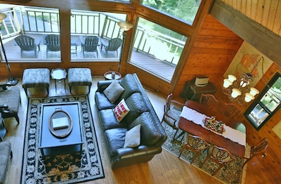 Overlooking the living room from the loft