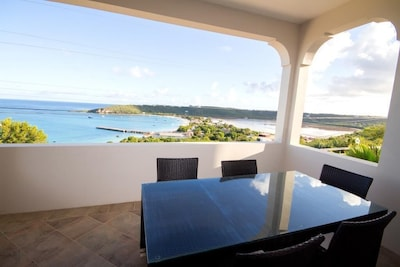 Spectacular views of the ocean and Sandy Ground Village and St. Martin behind