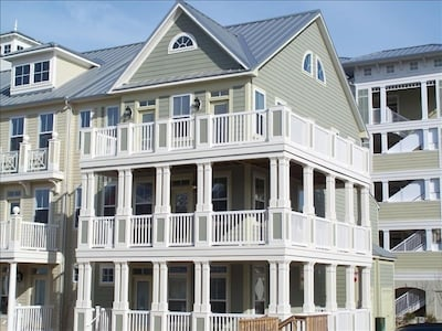 Front Exterior with grand wrap-around decks on three levels