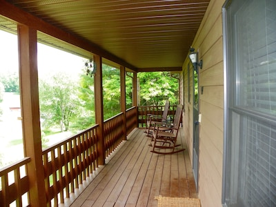 The front porch provides amazing morning and evening views of the mountains.