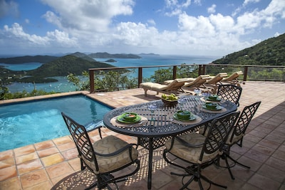 The view from the expansive sun deck, overlooking Coral Bay.