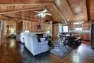 Exposed beams and rustic elements are all throughout the cabin.