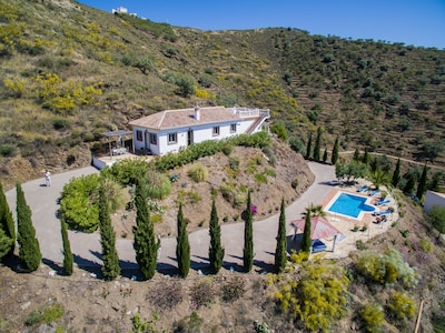 Private villa and pool set in olive and almond groves