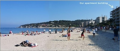 Beach in Front of Building (view of Cap d'Antibes)