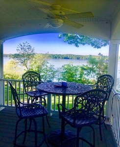 What a view from the wrap porch.  Main channel of lake.  You can see for miles!