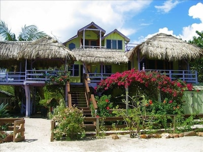 View of the house, actually standing in the Caribbean to get this shot.