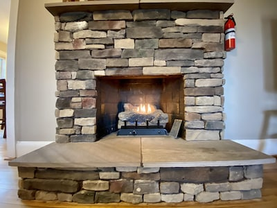 Gas Fireplace with Stone Hearth