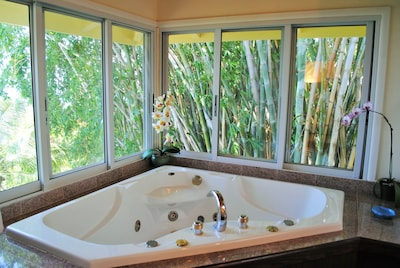 Two person spa tub, with bamboo and ocean views.