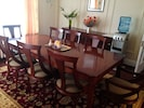 Dining room seats up to 12 with high chair