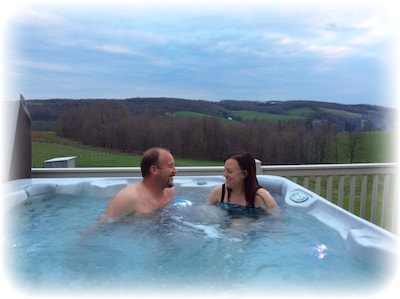 The new hot tub on the deck of the loft!
