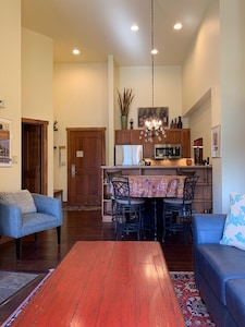 The kitchen & living area are open concept.