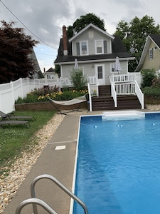 Private pool and deck with gas grill,  hammock and pool chairs too