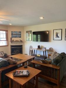 Living room - Roku TV with YouTube TV.  Gas Fireplace