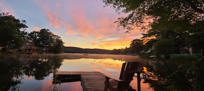 Dawn at the lake from dock