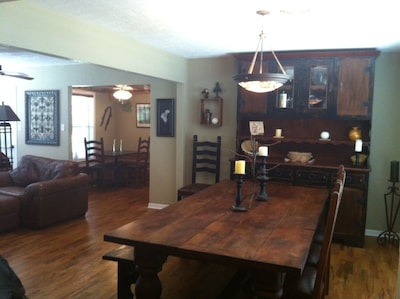 Open concept living, dining, and kitchen.  Oak hardwood floors.