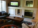 Large flat screen TV, Blu-ray player and fireplace in living room
