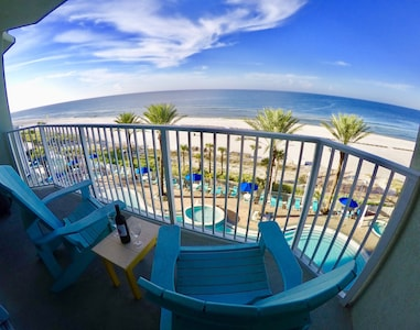Our 4th floor Balcony overlooking center of pool and 180 degree view of gulf.